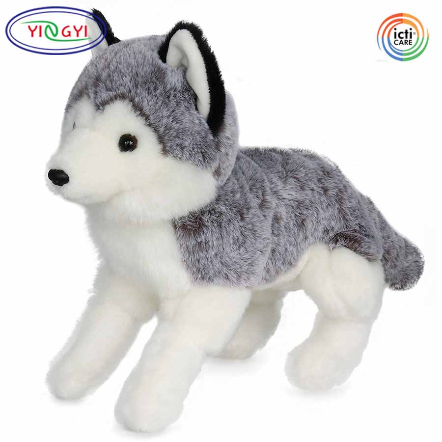 D152 Vivid Siberian Husky Stuffed Animal Dog Plush Toy Grey Puppy