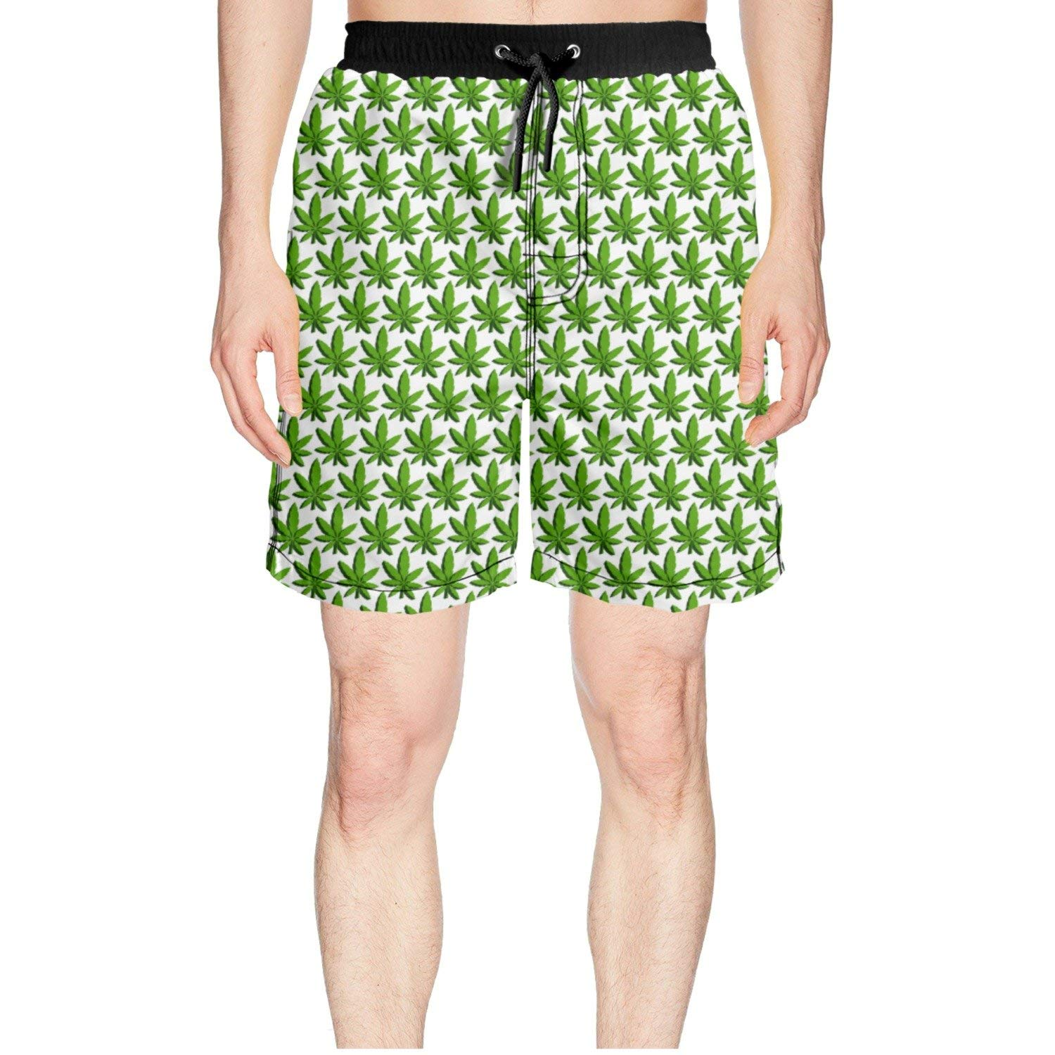 fcec82ec16 Get Quotations · Juliuse Marthar Men's Tropical Weed Leaf Swim Trunks Quick  Dry Shorts Board Shorts