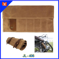 Waxed canvas with leather trim roll up tool bag for bike or motorcycle