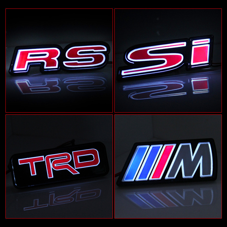VOOR RS LED logo lamp voor auto front netto etikettering LED auto decoratie TRD met lamp logo RS LED logo