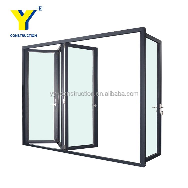Three Panel Sliding Glass Door Inward Opening Folding Door Bi