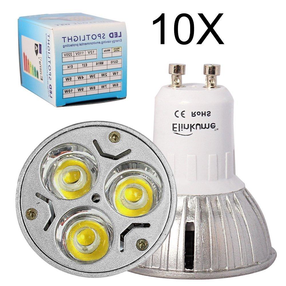 Elinkume LED 3W GU10 Bulb 110V - White 6500K,30Watt Equivalent - 60 Degree Beam Angle for Landscape, Accent, Recessed, Track Lighting 10X