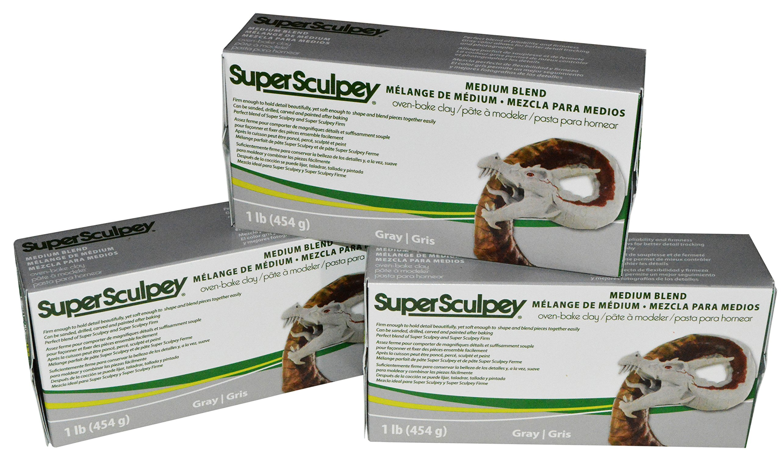 Super Sculpey Medium Blend Gray Oven-Bake Clay - Blend of Super Sculpey and Super Sculpey Firm - 1 Lb, Pack of 3