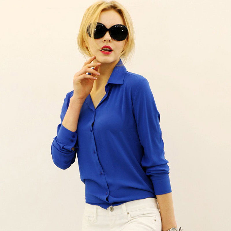 927aa4b621e8 Get Quotations · Blusas Femininas 2015 Women Shirt Chiffon Tops Elegant  Ladies Formal Office Blouse 5 Colors Work Wear