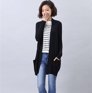 2019 Latest Knitted Women Elegant Long Sleeve black Sweater Cardigan For Ladies
