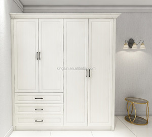 nice look 4 doors with 3 drawers white wardrobe