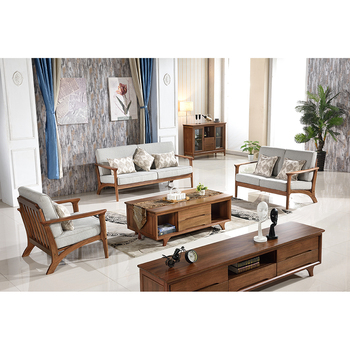 European Modern Latest Simple Style Living Room Furniture Free Standing Solid  Wood Storage Wooden Sofa Set
