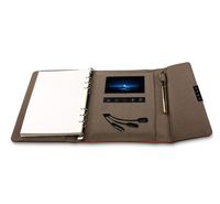 leather business diary with powerbank executive planner Video Notebook Power Bank