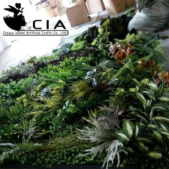 Movable Artificial Living Wall With Leaves , Grass