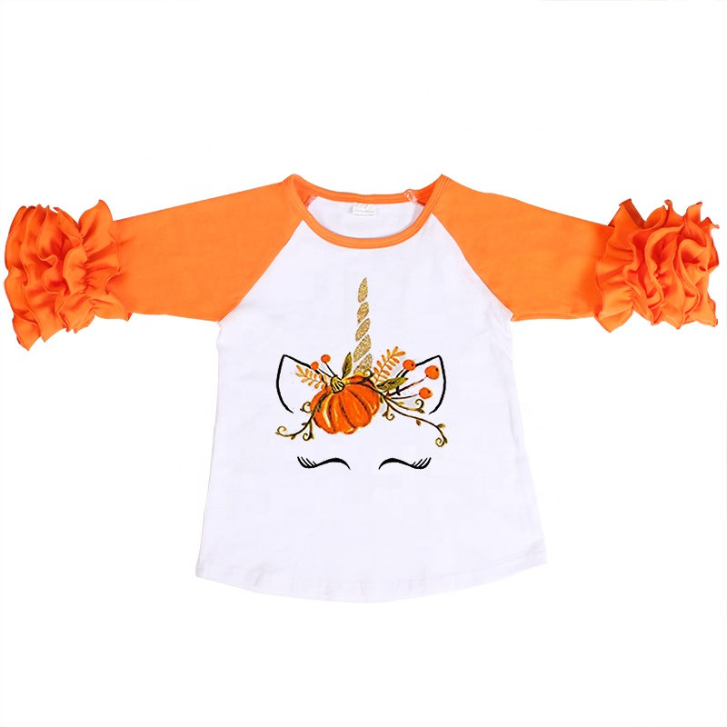 wholesales kids girls baby clothing half sleeve cotton shirt girls unicorn shirt