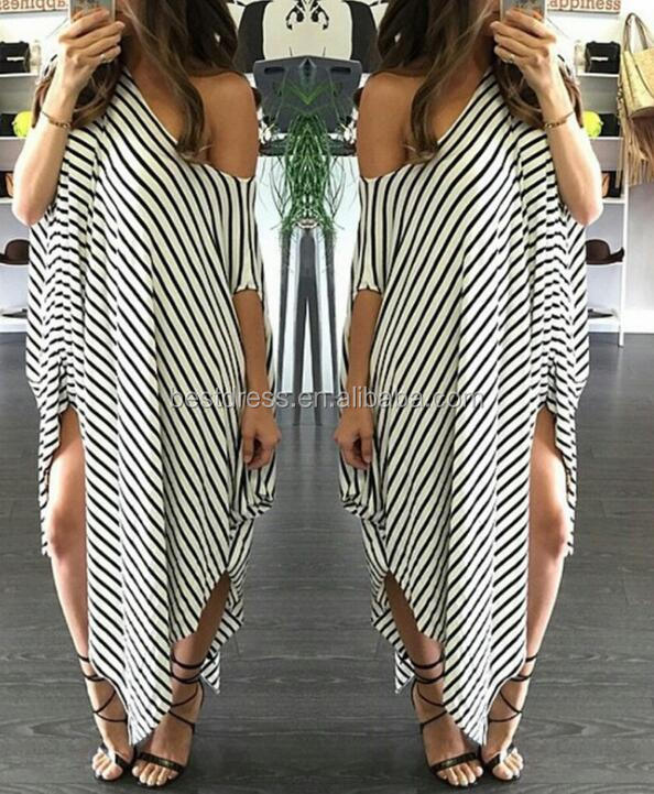 Women Striped Printed <strong>Dress</strong> Batwing off the shoulder split Maxi Long <strong>Dress</strong>