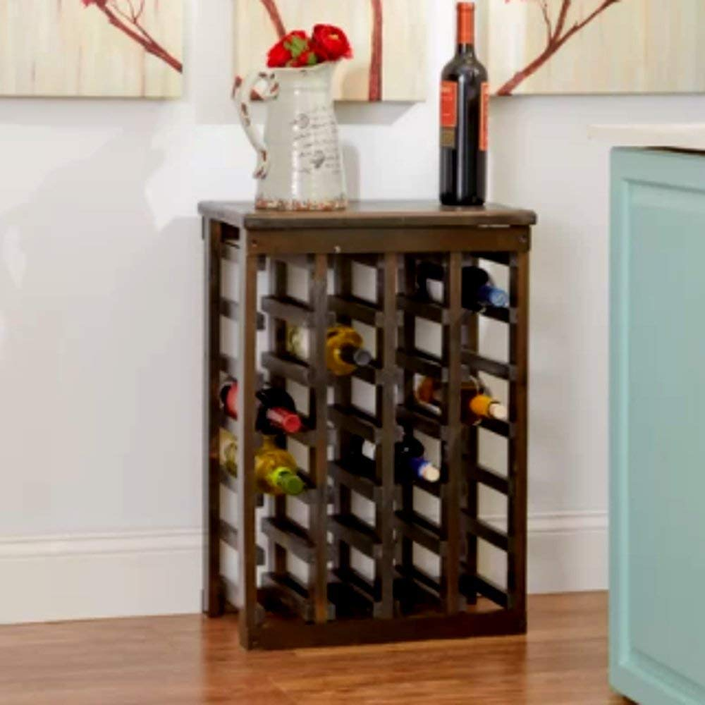 Personalized Wood Wine Rack, Rustic Solid Large Rustic Wood 24 Bottle Wooden Espresso Wine Rack, Modern Floor Decorative Wine Rack & E-Book