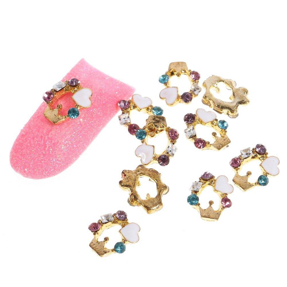 So Beauty Fashion Stunning Glitter Gold Ring Metal Rhinestones Nail Art DIY Decorations - 10 Pcs