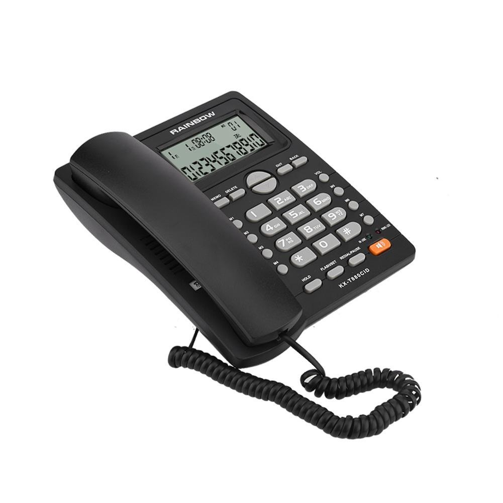 fosa Corded Phone Speed Dial with Caller ID DTMF/FSK 2-line Corded Telephone with Speakerphone, Extra-Large Tilt Display/Buttons Basic Landline Telephone for Home Office Kitchen