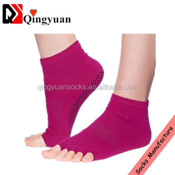 Open Toe Compression Women Yoga Anti-slip Cotton Socks
