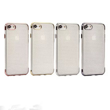 Luxury Ultra-thin Electroplate Dotted Transparent TPU Mobile Phone Case Protective Back Cover for iphone 6 6s