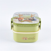 2 layer plastic lunch box for kids with cartoon rabbit design