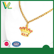 Best Selling Hot sales Die casting crown 3D lobster claw Unisex Necklace Gold