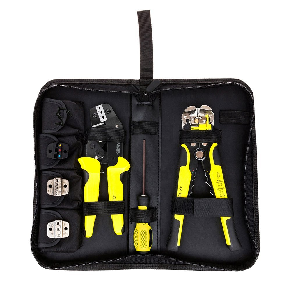 Meterk 4 In 1 multi tool Wire Crimping tool Pliers Engineering Ratcheting Terminal Crimpers + Cord End Terminals + Wire Stripper Yellow