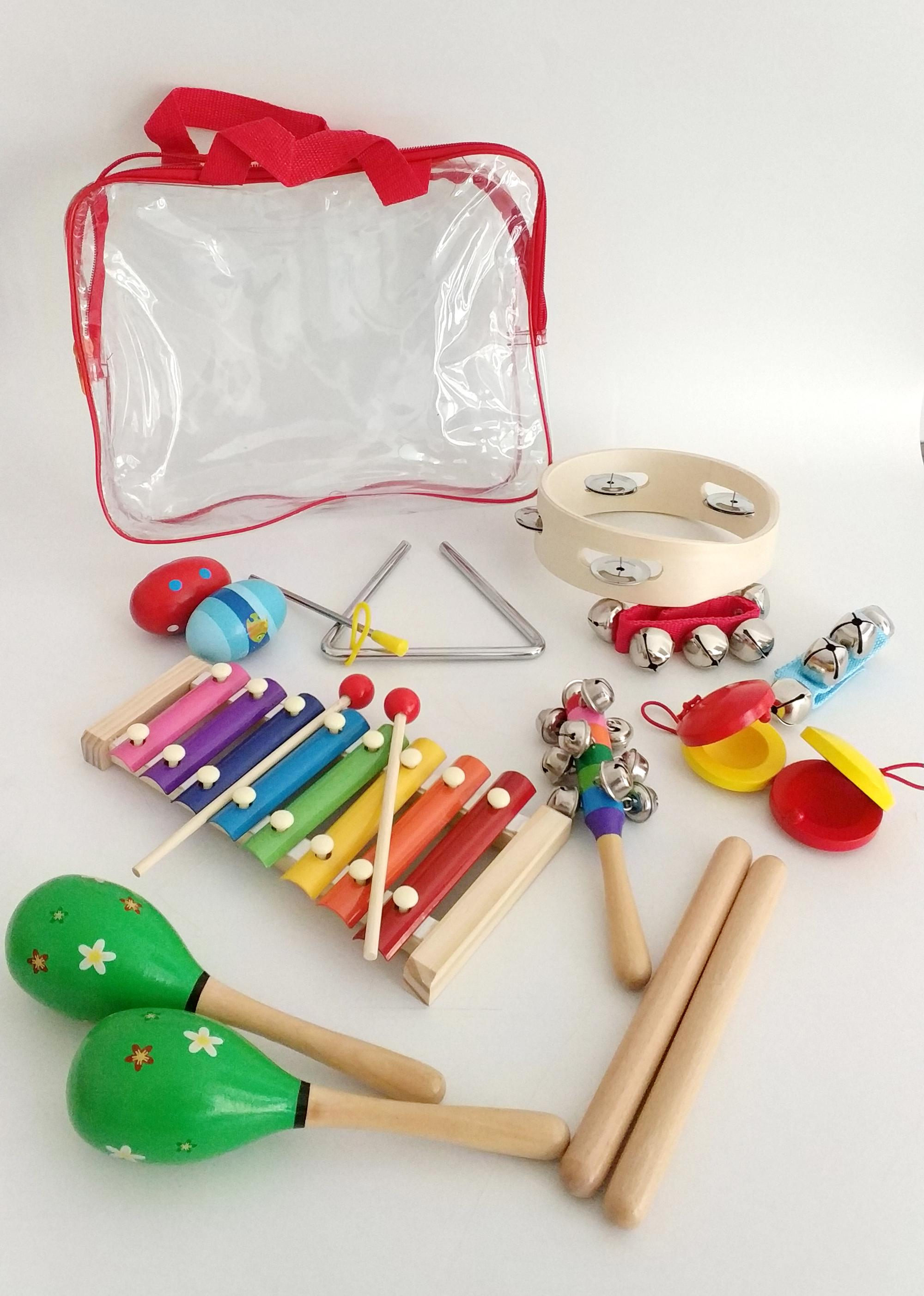 Multiple Kids' Wooden Music Sets, Xylophone Maracas Claves Wrist Bells Tambourine Finger Castanets Music Instrument