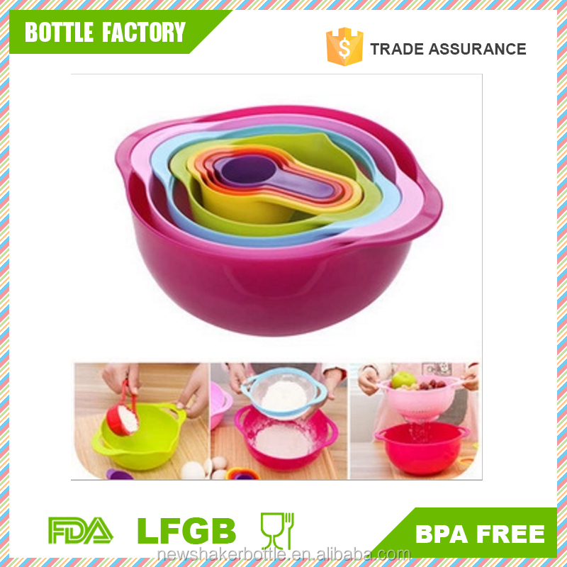 Food-grade PP Rainbow Drain Basket Set,Measuring Cup Mixing Bowl Nest Food Preparation Set 8 in 1