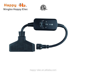 3 Outlets Weatherproof 24 Hours Mechnical Black W Photocell Light