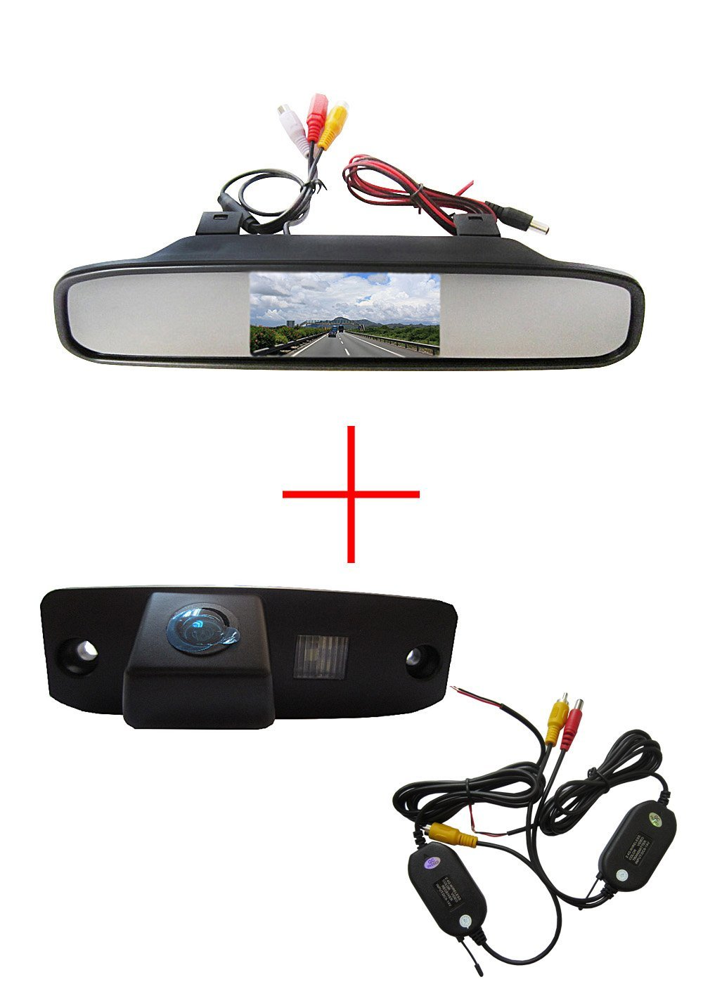 Wireless Auto Vehicle CCD HD Color Car Back up Rear View Reverse Reversing Parking Camera for KIA Carens Oprius Sorento Borrego Ceed Sportage R, with 4.3 Inch Color LCD TFT Rear View Mirror Monitor Screen Car Backup Monitor
