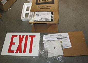 Lithonia Lighting / Acuity LX-S-W-3-R-120/277-EL-N Titan LX Series Exit Signs 120/277 Volt AC White Red Letter