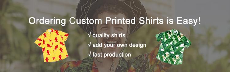 Riciclato Hawaiano Camicia di Poliestere Camicia di Stampa Pulsante Personalizzato Up Shirt per Gli Uomini