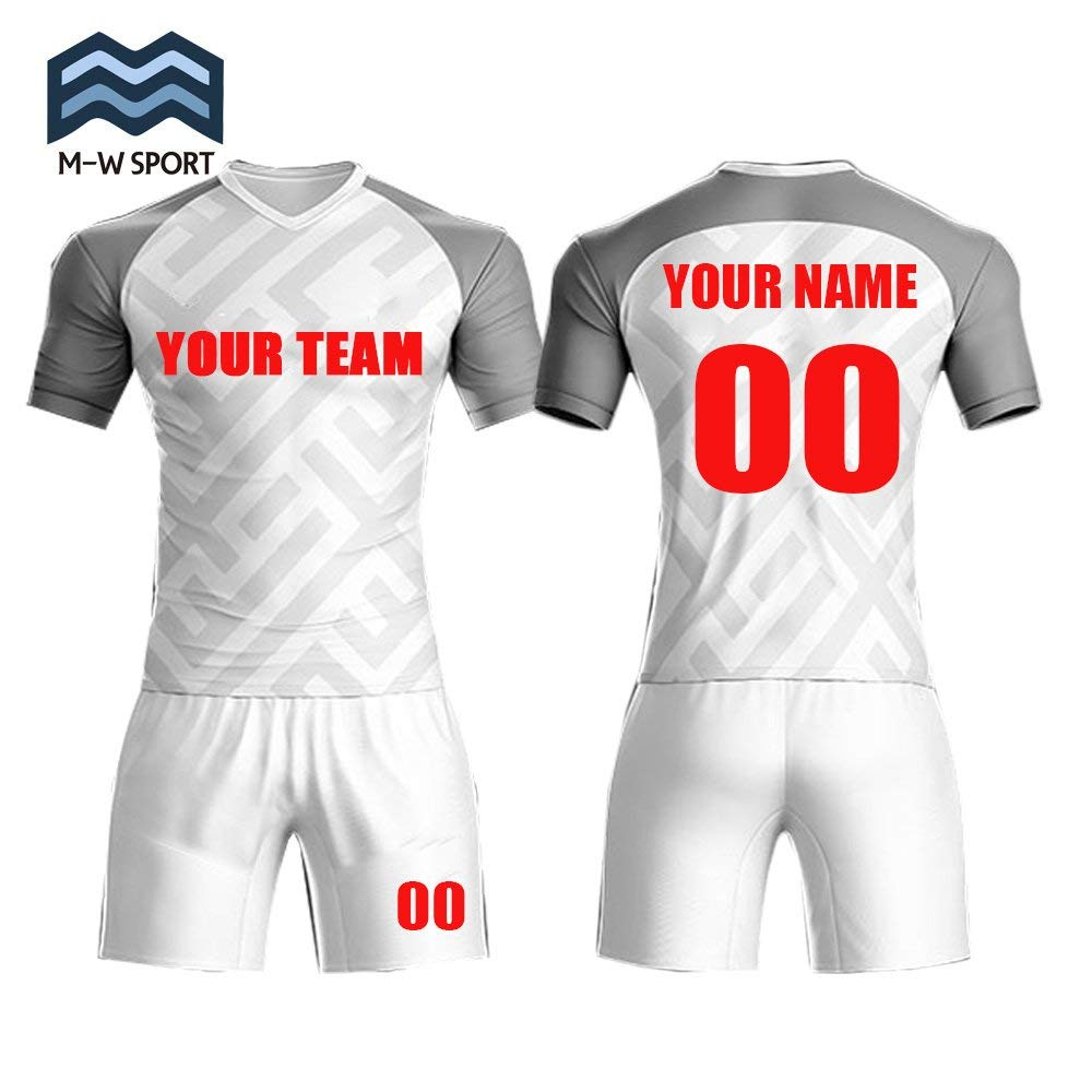 a46a8dbe54d Get Quotations · M-W Sports Custom Jerseys Soccer Team Jersey Sportwear  Grey and Red Design Your Own Idea unifroms