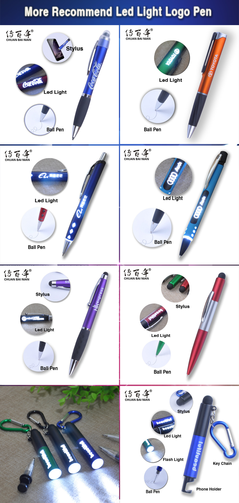 Vendite calde regalo promozionale multifunzionale ha condotto la luce del flash penna dello stilo con portachiavi e supporto del telefono