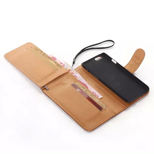 Fashion Crazy Wallet Case Up to Drown 2 Page Card Slot for Apple iPhone 6 Plus, With Scrap Leather Case for Apple iPhone 6 Plus