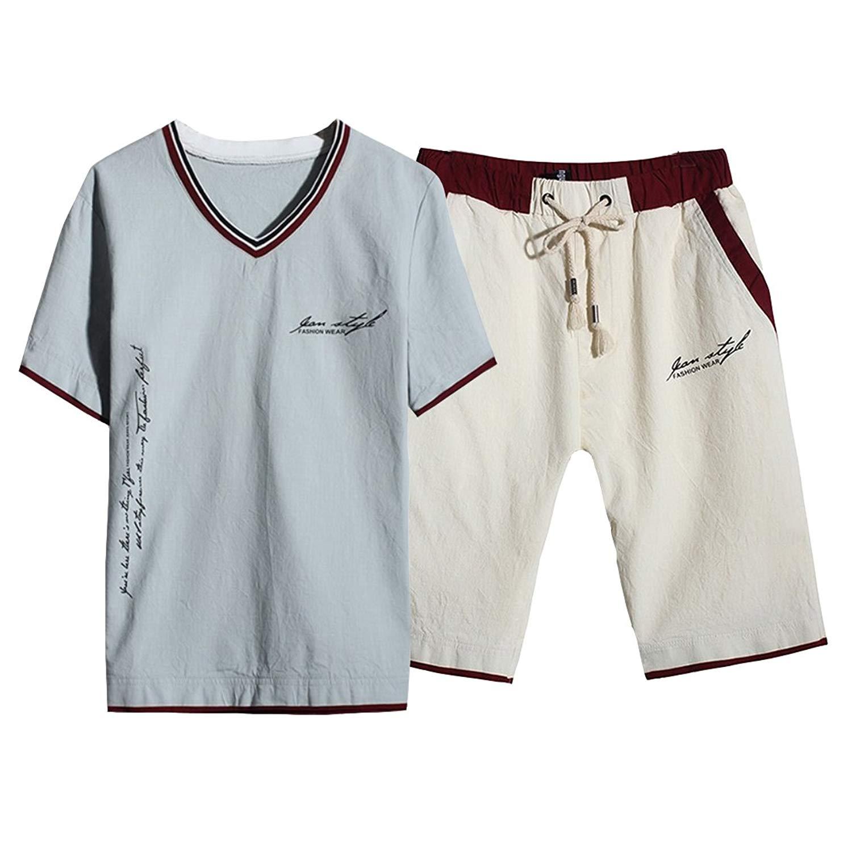 Hzcx Fashion Men's V-neck Short Sleeve Shirts And Shorts Linen 2PCS Suits