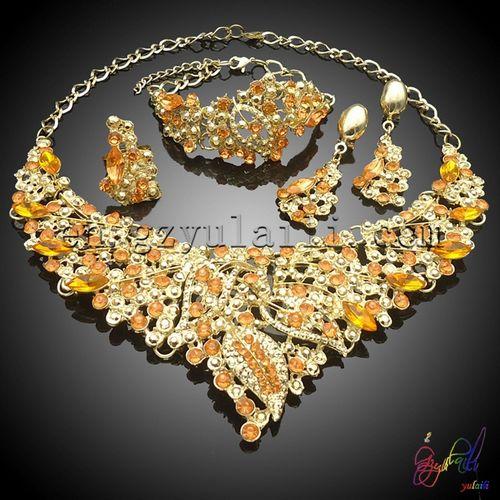 color caliente elegante novia boda joyería conjunto joyas bisutería diseño