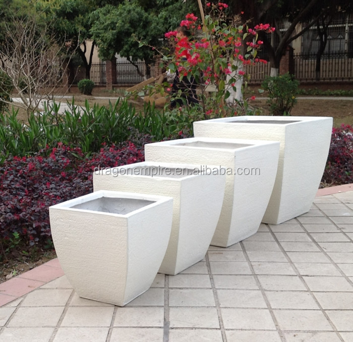 Large Outdoor Rectangular Fiberglass Clay Planter Box White Square Garden Flower Box Buy