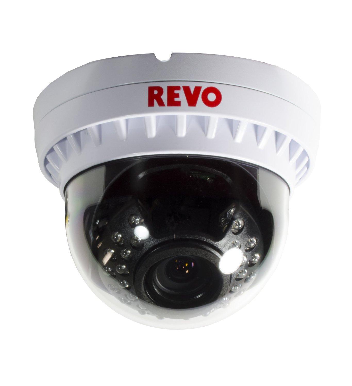 REVO America RCVD2812-1BNC Elite 900 TVL Indoor/Outdoor BNC Vandal Proof Dome Surveillance Camera with 100-Feet Night Vision and 2.8-12 Varifocal Lens (White)