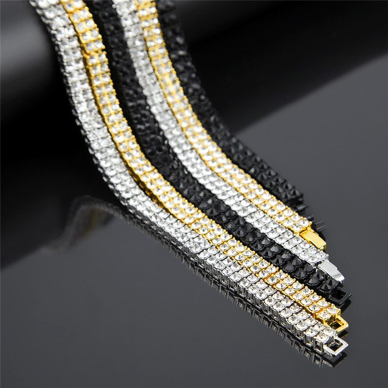 HipHop Bling Iced Out 2 Row Tennis Chain Necklace Gold Silver Color Plated Men Jewelry 20-30inch