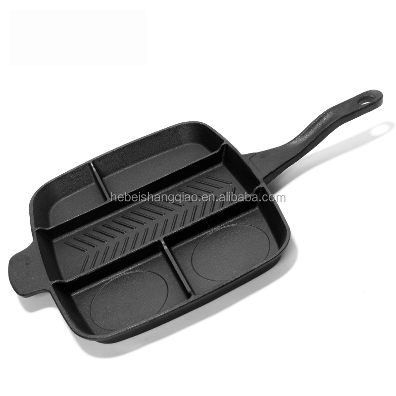 Pre-seasoned Cast Iron 5 in 1 Divided Frying Pan Divided Master Pan