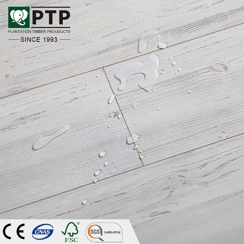 PTP 12MM HDF E1 HDF White Ash Floating Click Herringbone Germany Technique Laminate Flooring