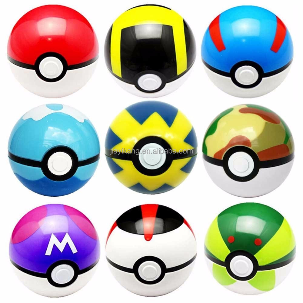Plastic Pokemon Ball - 1 Pokeball Toy Pop-Up Poke Ball with Random Bonus Toy