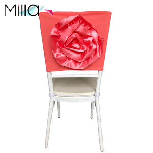 Handmade Satin 3d Flower Wedding Spandex Chair Cover