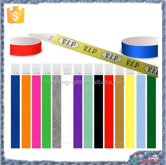 Cheap disposable non tear off paper tyvek wristband