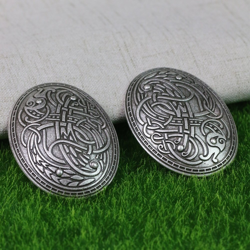 LiCHY Langhong 1pcs Nordic Vikings Amulet Sweden Scandinavian Dragon Brooches Viking brosch jewelry Talisman (Color: Antique silver)