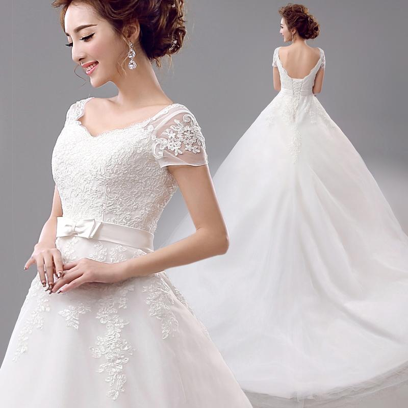 Elegant Lace Sleeve Short Wedding Dresses 2016 Scoop Neck: Famous 2016 Elegant White Lace Backless Large Tail Wedding