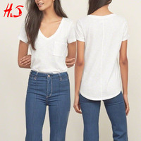 2017Wholesale Women Custom cotton Pocket V Neck wholesale blank tees fashion women t-shirt