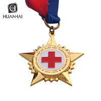 custom red cross gold shaped star lapel pin medal with ribbon