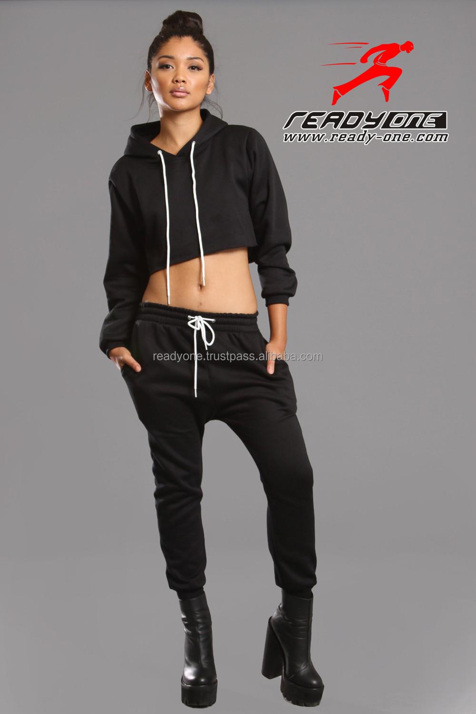 f4070c6e2aa3 Black Crop Top Custom Pattern Sweat Suits For Women - Buy Hot Sales ...