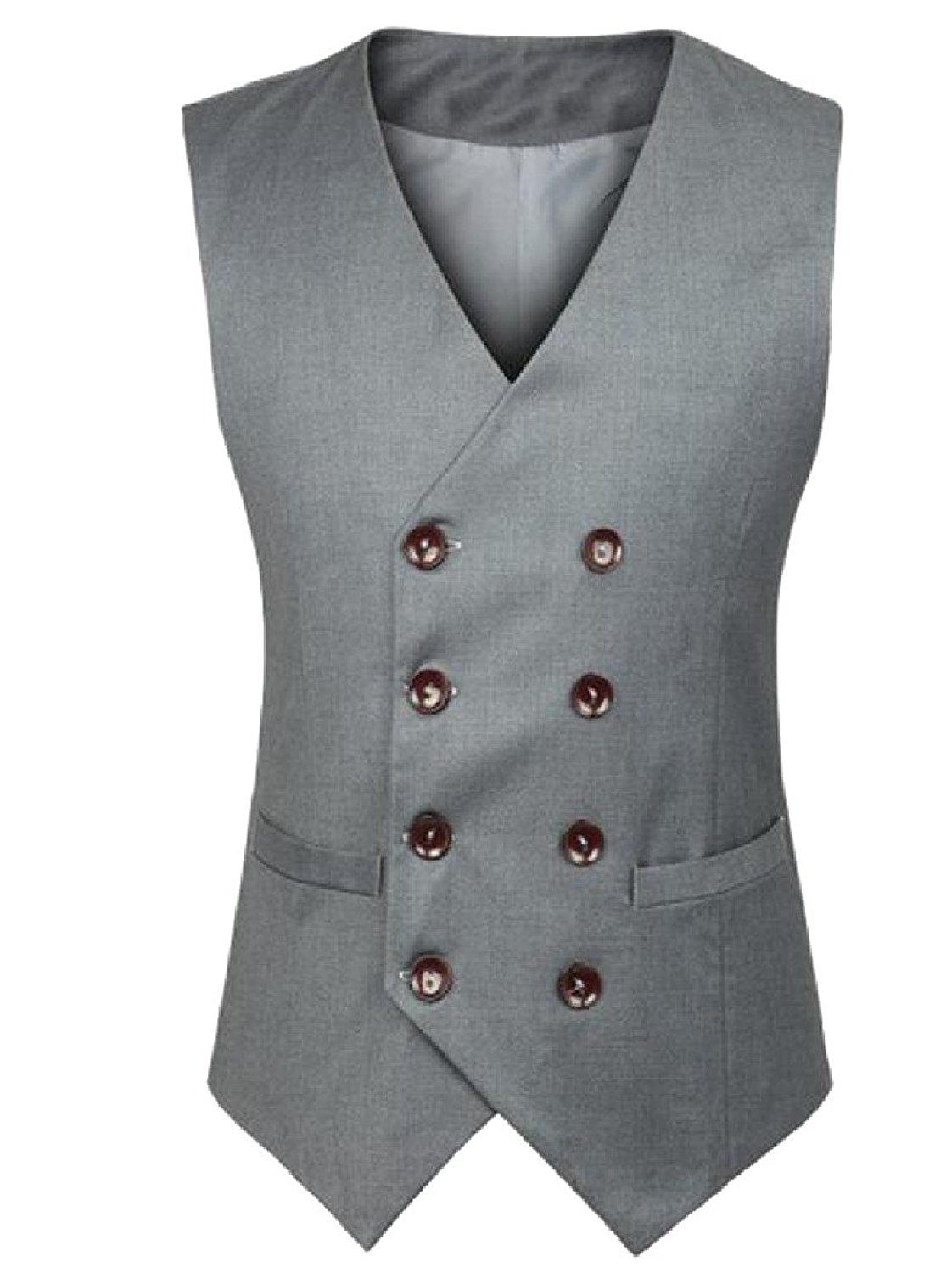 Comfy Men Double Breasted Trim-Fit Business V-Neck Vest Waistcoat