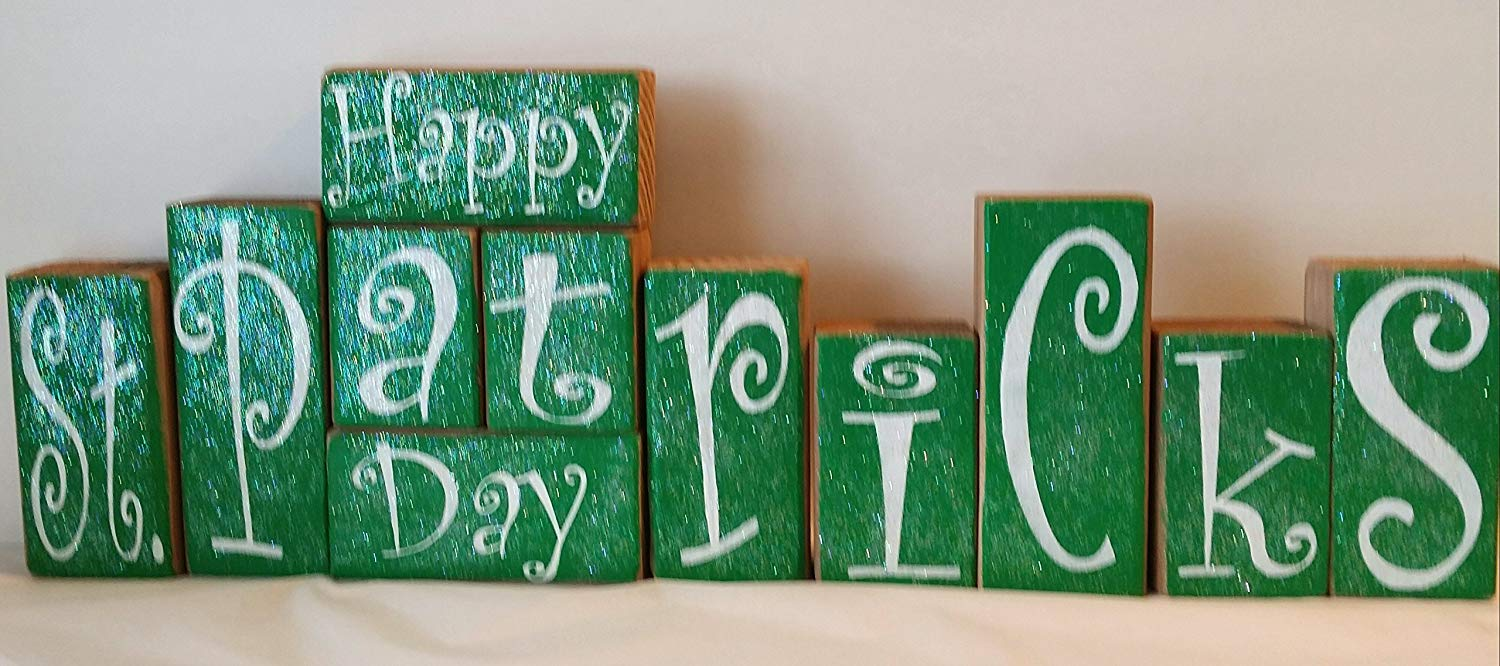 Happy St. Patrick's Day Blocks Wood Set Green And White With Glitter