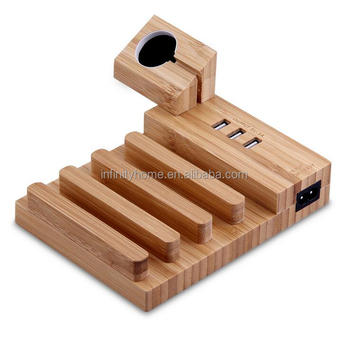 Custom portable wood usb charger station with phone holder